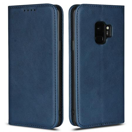 For Samsung S9 Leather Case Premium Leather Slim Flip Wallet Case for Samsung Galaxy S9 - Dark Blue