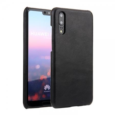 Genuine Leather Matte Back Hard Case Cover for Huawei P20 Pro - Black