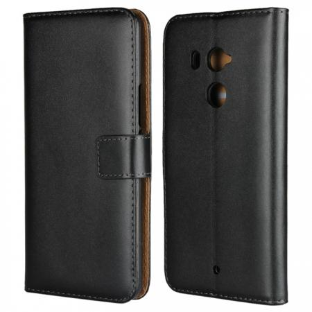 Genuine Leather Stand Wallet Case for HTC U11 Plus with Card Slots&holder - Black
