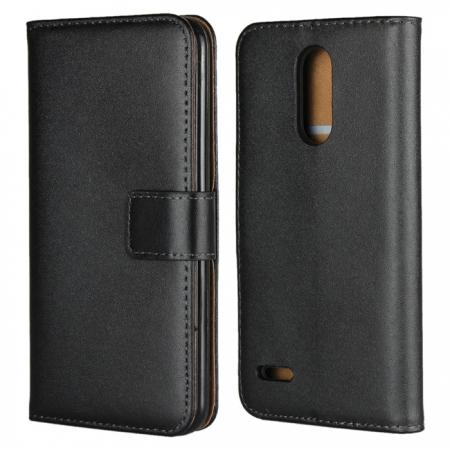 Genuine Leather Stand Wallet Case for LG Aristo 2 / K8 2018 with Card Slots&holder - Black