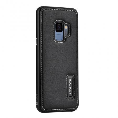 Luxury Aluminum Genuine Leather Back Cover Case For Samsung Galaxy S9 Plus - Black