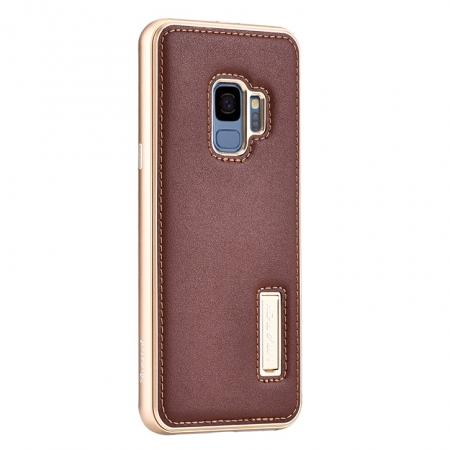 Luxury Aluminum Genuine Leather Back Cover Case For Samsung Galaxy S9 Plus - Gold&Brown