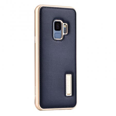 Luxury Aluminum Genuine Leather Back Cover Case For Samsung Galaxy S9 Plus - Gold&Dark Blue