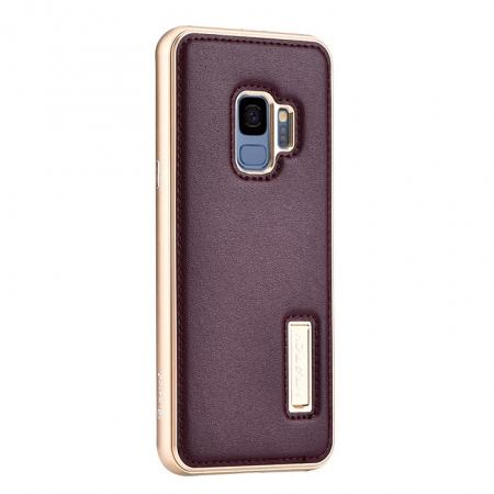 Luxury Aluminum Genuine Leather Back Cover Case For Samsung Galaxy S9 Plus - Gold&Wine Red