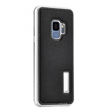 Luxury Aluminum Genuine Leather Back Cover Case For Samsung Galaxy S9 Plus - Silver&Black