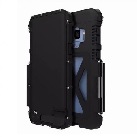 R-JUST Aluminum Metal Shockproof Full Cover Case For Samsung Galaxy S9 - Black