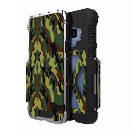 R-JUST Aluminum Metal Shockproof Full Cover Case For Samsung Galaxy S9 - Camouflage