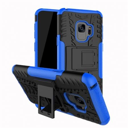 Rugged Armor Shockproof Kickstand Plastic Cover Case For Samsung Galaxy S9 - Blue
