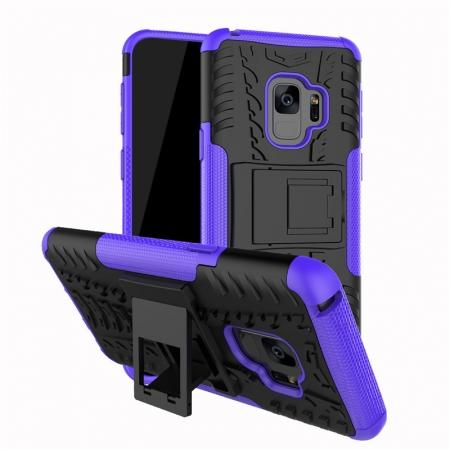 Rugged Armor Shockproof Kickstand Plastic Cover Case For Samsung Galaxy S9 - Purple