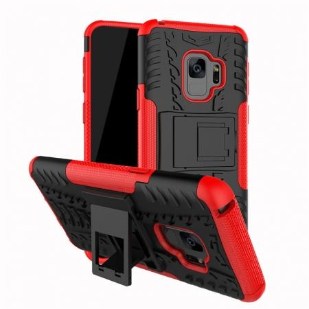 Rugged Armor Shockproof Kickstand Plastic Cover Case For Samsung Galaxy S9 - Red