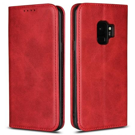 S9 Leather Wallet Case Premium Leather Slim Flip Wallet Case for Samsung Galaxy S9 - Red