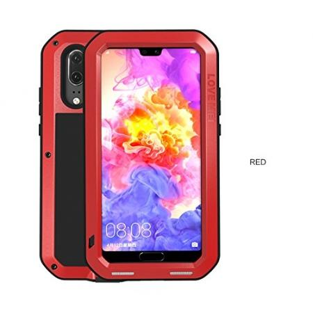 Shockproof Dustproof Aluminum Metal Tempered Glass Case For Huawei P20 Pro - Red