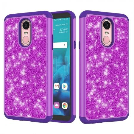 Fashion Glitter Bling Design Dual Layer Hybrid Protective Phone Case for LG Stylo 4 - Purple