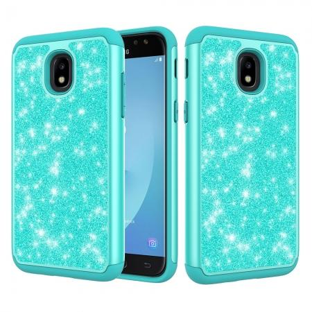 Fashion Glitter Bling Dual Layer Hybrid Protective Phone Case For Samsung Galaxy J3 (2018) - Teal