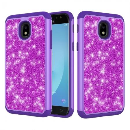 Fashion Glitter Bling Hybrid Dual Layer Protective Phone Cover Case For Samsung Galaxy J7 (2018) - Purple