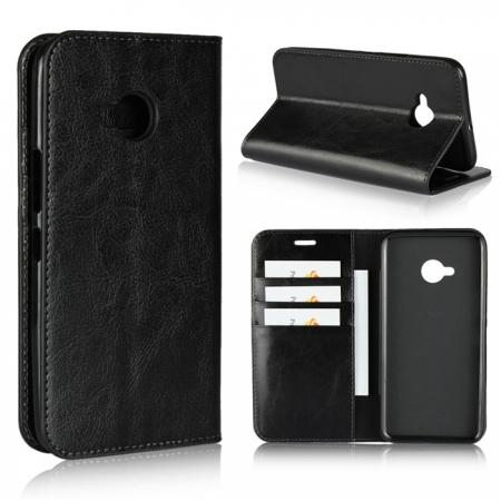 For HTC U11 Life Crazy Horse Genuine Leather Case Flip Stand Card Slot - Black