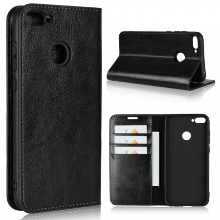For Huawei Honor 10 Lite Crazy Horse Genuine Leather Case Flip Stand Card Slot - Black
