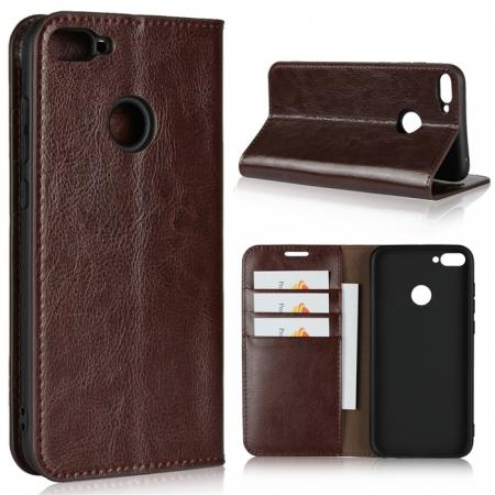 For Huawei Honor 10 Lite Crazy Horse Genuine Leather Case Flip Stand Card Slot - Coffee