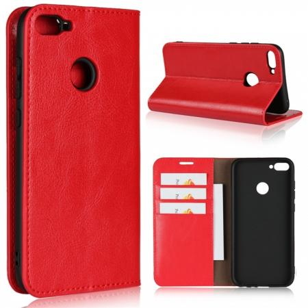 For Huawei Honor 10 Lite Crazy Horse Genuine Leather Case Flip Stand Card Slot - Red