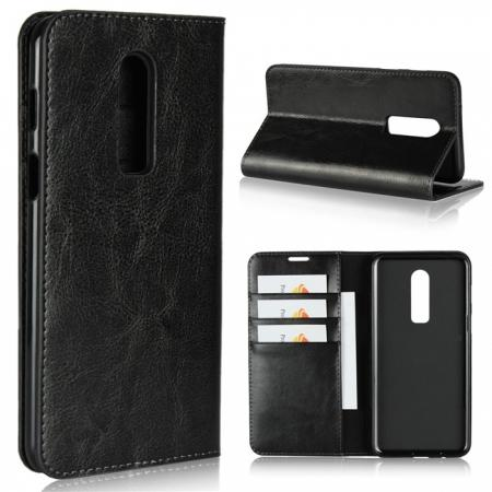For OnePlus 6 Crazy Horse Genuine Leather Case Flip Stand Card Slot - Black