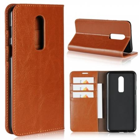 For OnePlus 6 Crazy Horse Genuine Leather Case Flip Stand Card Slot - Brown