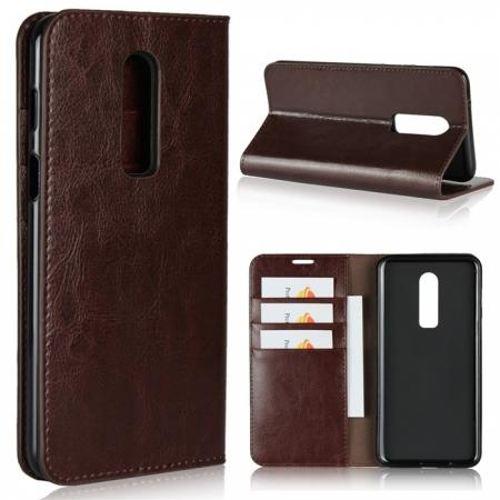 For OnePlus 6 Crazy Horse Genuine Leather Case Flip Stand Card Slot - Coffee
