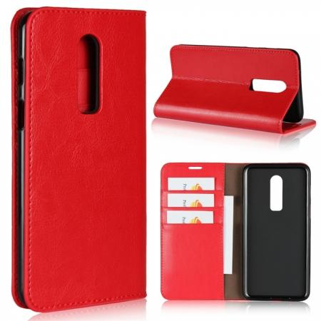 For OnePlus 6 Crazy Horse Genuine Leather Case Flip Stand Card Slot - Red