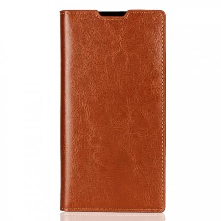 best service f057c 4f598 For Sony Xperia XA2 Ultra Crazy Horse Genuine Leather Case Flip Stand Card  Slot - Brown