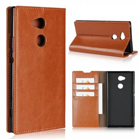 For Sony Xperia XA2 Ultra Crazy Horse Genuine Leather Case Flip Stand Card Slot - Brown