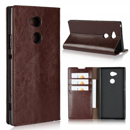 For Sony Xperia XA2 Ultra Crazy Horse Genuine Leather Case Flip Stand Card Slot - Coffee
