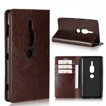 For Sony Xperia XZ2 Premium Crazy Horse Genuine Leather Case Flip Stand Card Slot - Coffee