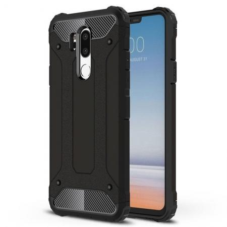 Full Slim Rugged Dual Layer Heavy Duty Hybrid Protection Case for LG G7 ThinQ - Black