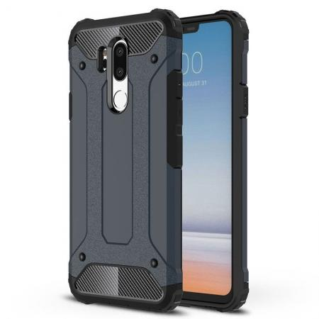 Full Slim Rugged Dual Layer Heavy Duty Hybrid Protection Case for LG G7 ThinQ - Navy blue