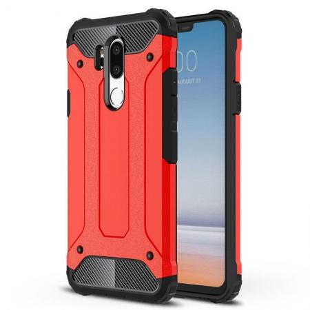 Full Slim Rugged Dual Layer Heavy Duty Hybrid Protection Case for LG G7 ThinQ - Red
