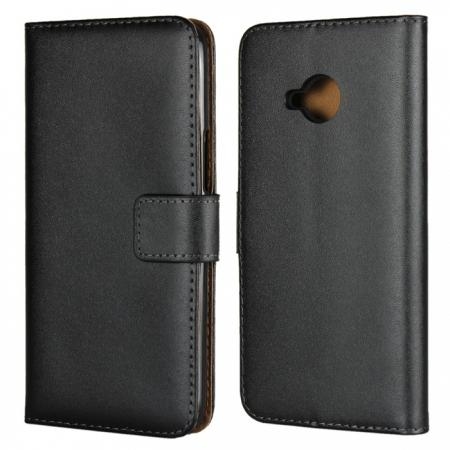 Genuine Leather Stand Wallet Case for HTC U11 Life with Card Slots&holder - Black