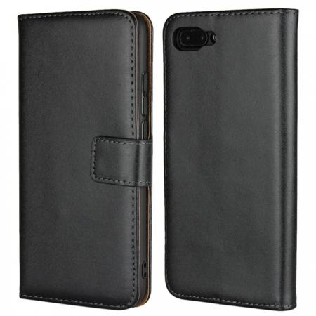 Genuine Leather Stand Wallet Case for Huawei Honor 10 with Card Slots&holder - Black