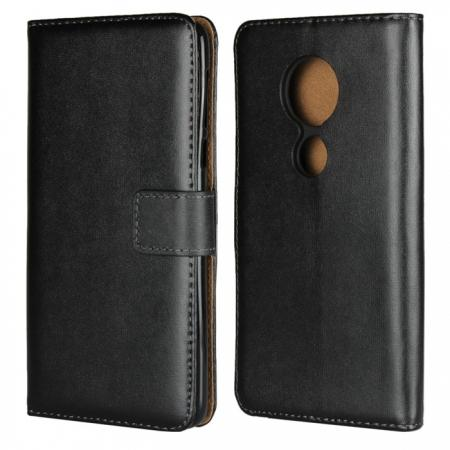 Genuine Leather Stand Wallet Case for Motorola Moto E5 with Card Slots&holder - Black
