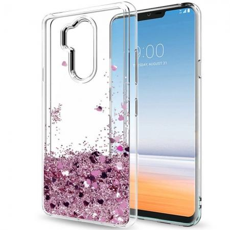 Glitter Shiny Bling Moving Liquid Quicksand Clear TPU Phone Case for LG G7 ThinQ - Rose gold