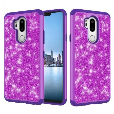 Glitter Sparkly Bling Shockproof  Hybrid Defender Armor Protective Case for LG G7 ThinQ - Purple