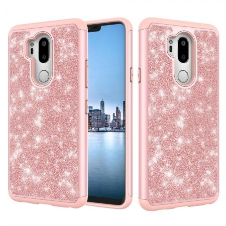 Glitter Sparkly Bling Shockproof  Hybrid Defender Armor Protective Case for LG G7 ThinQ - Rose gold