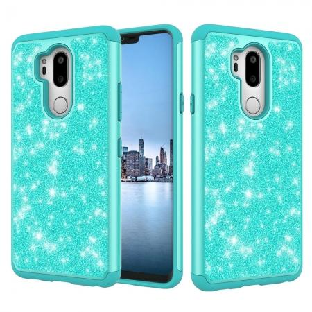 Glitter Sparkly Bling Shockproof  Hybrid Defender Armor Protective Case for LG G7 ThinQ - Teal