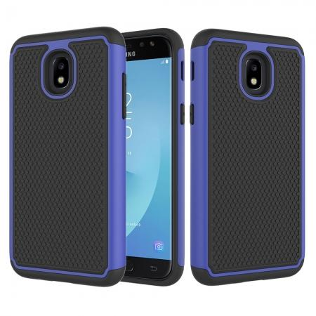 Hybrid Dual Layer Shockproof Protective Phone Case Cover For Samsung Galaxy J3 (2018) - Dark blue