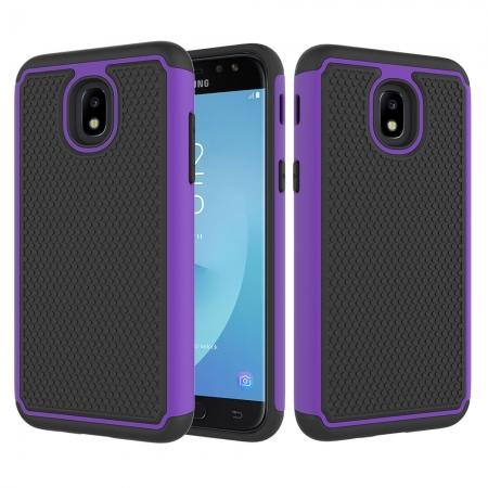 Hybrid Dual Layer Shockproof Protective Phone Case Cover For Samsung Galaxy J3 (2018) - Purple