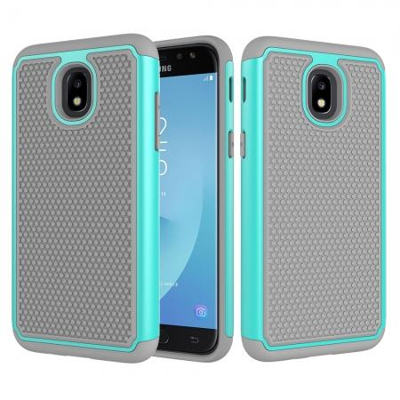 Hybrid Dual Layer Shockproof Protective Phone Case Cover For Samsung Galaxy J3 (2018) - Teal & Gray