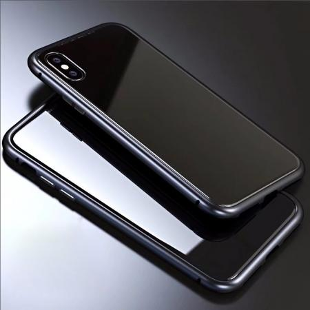 Luxury Magnetic Metal Frame Tempered Glass Back Cover Case For iPhone XS / X - Black