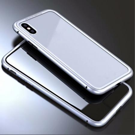 Luxury Magnetic Metal Frame Tempered Glass Back Cover Case For iPhone XS / X - Silver&Clear