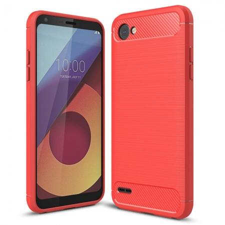 Case for LG Q6 / Q6a, Ultra Slim Shockproof TPU Carbon Fiber Protective Phone Cover - Red