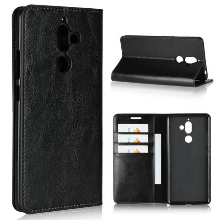 For Nokia 7 Plus Luxury Crazy Horse Genuine Leather Case Flip Stand Card Slot - Black
