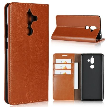 For Nokia 7 Plus Luxury Crazy Horse Genuine Leather Case Flip Stand Card Slot - Brown