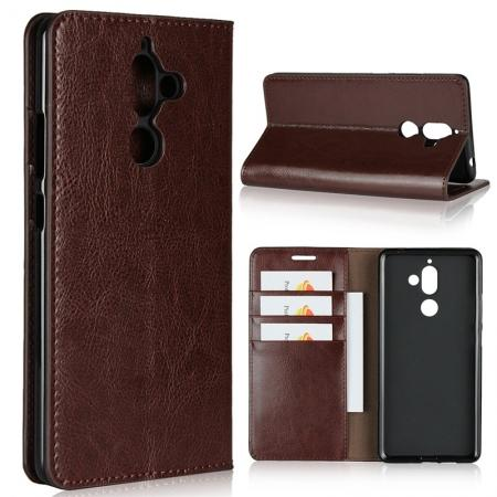 For Nokia 7 Plus Luxury Crazy Horse Genuine Leather Case Flip Stand Card Slot - Coffee
